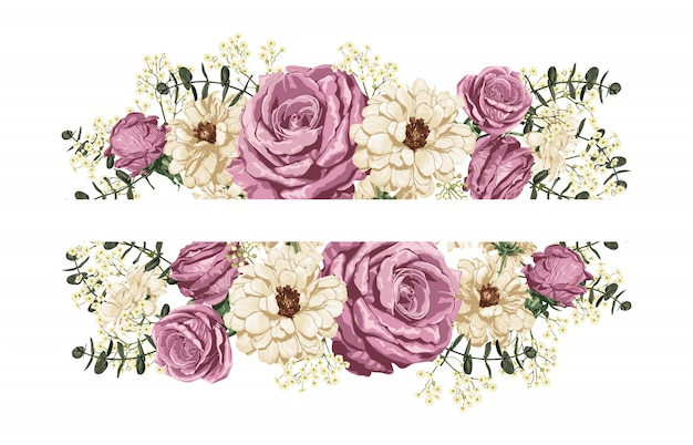 Roze roos en witte madeliefjes boven- en onderrand decoratie.