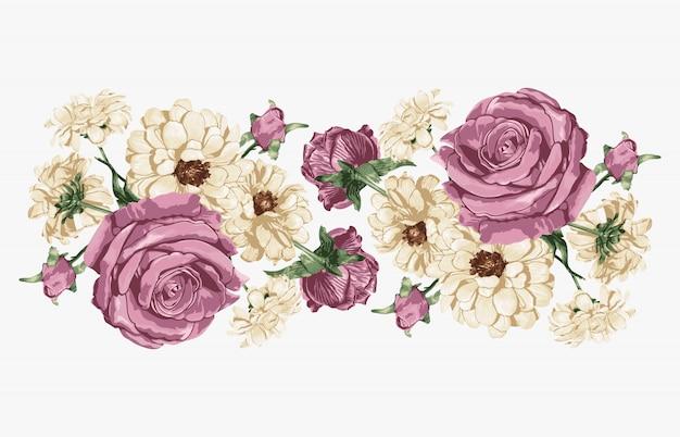 Roze roos en witte madeliefjes zoet bloemenboeket