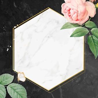 Roze roos frame op een marmeren gestructureerde achtergrond vector
