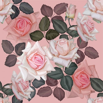 Roze roos naadloos patroon