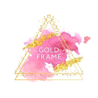 Roze, roos, penseelstreken en gouden frame.