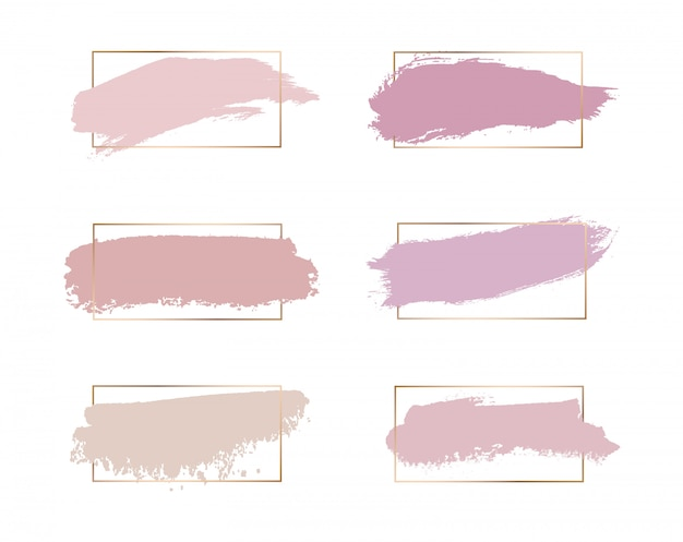 Roze roos, perzik, kleuren penseelstreek aquarel textuur met gouden lijnen frames.