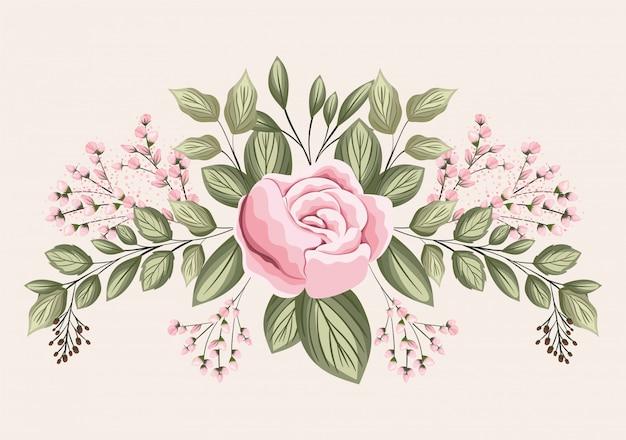 Roze roze bloem met bladeren schilderij ontwerp, natuurlijke bloemen natuur plant ornament tuindecoratie