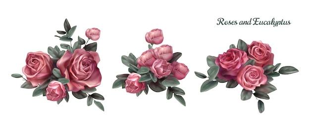 Roze roze bloemen arrangement illustratie