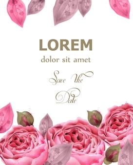 Roze rozen aquarel achtergrond
