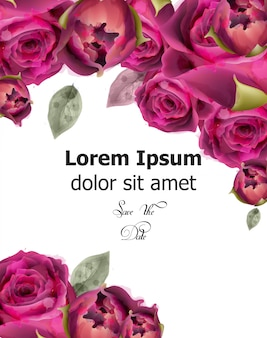 Roze rozen aquarel spandoek sjabloon