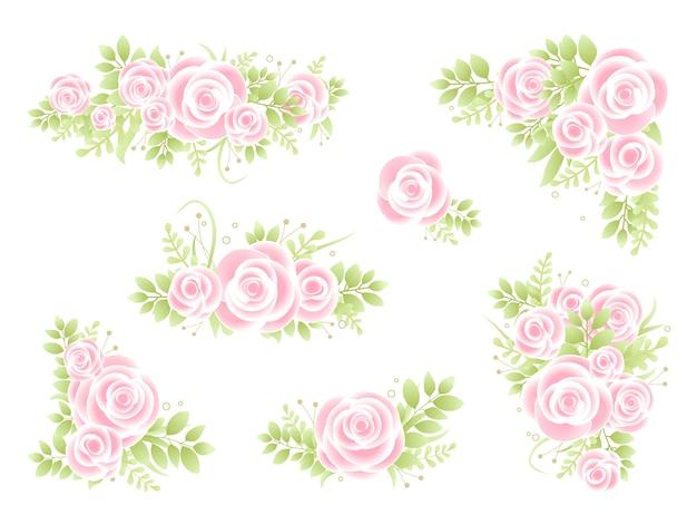 Roze rozen klaar bloemstuk