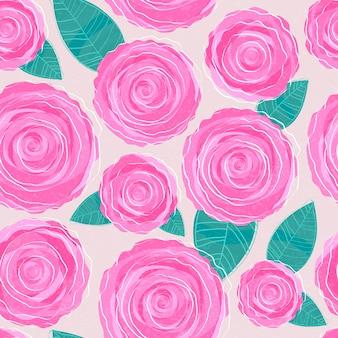 Roze rozen naadloos patroon. florale achtergrond