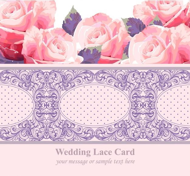 Roze rozen op vintage delicate lace-kaart.