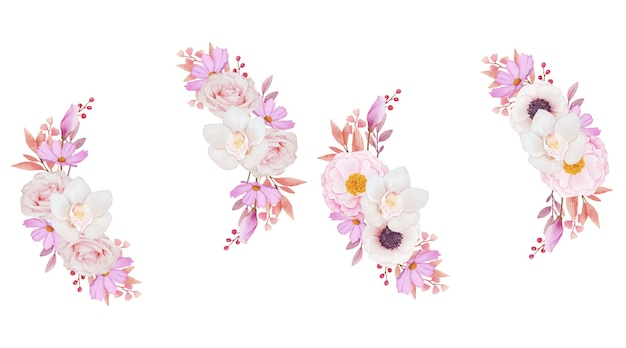 Roze rozen orchidee en anemoon bloemen krans