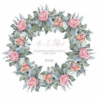 Roze rozenhuwelijksuitnodiging voor huwelijkskaarten, sparen de datum en de bladeren