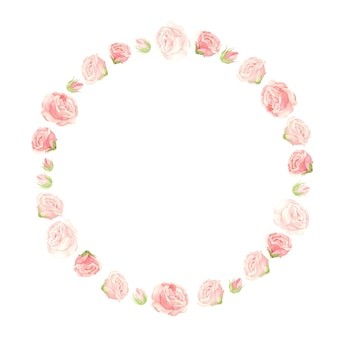 Roze rozenkrans met bloemknoppen en bloemblaadjes