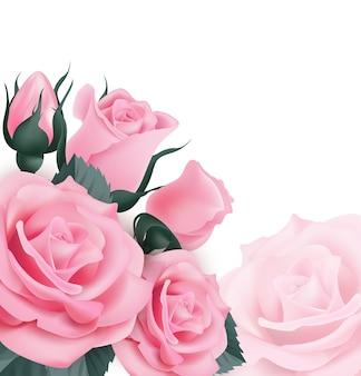 Roze rozenmooie wenskaart met een boeket rozen op witte achtergrond vectorillustratie