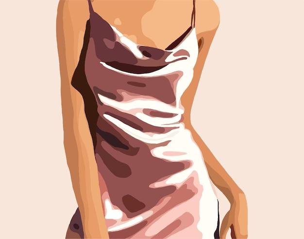 Roze satijnen jurk op het meisje. trendy vectorillustratie.