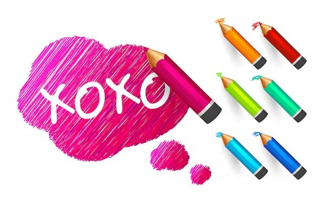 Roze schets banner getekend met cartoon kleur potloden