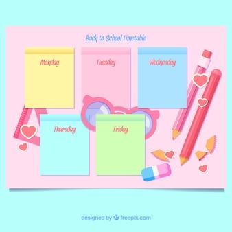 Roze school tijdschema sjabloon