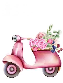 Roze scooter in vespa-stijl met bloemen in de kofferbak