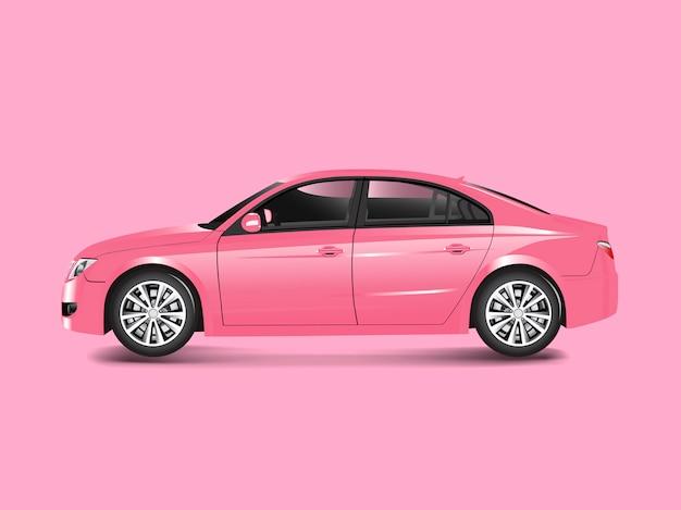 Roze sedanauto in een roze vector als achtergrond