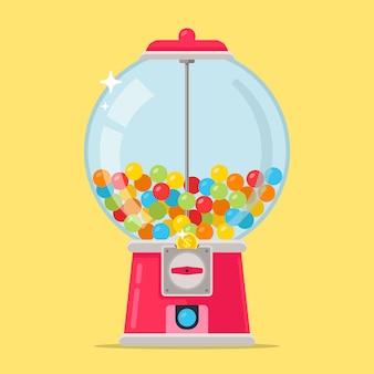 Roze snoepmachine voor kinderen. veelkleurige kauwballen. platte vectorillustratie.