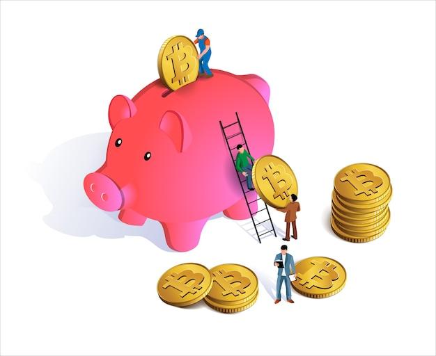 Roze spaarvarken met muntstukken die in groef vallen. spaarvarken met geld.