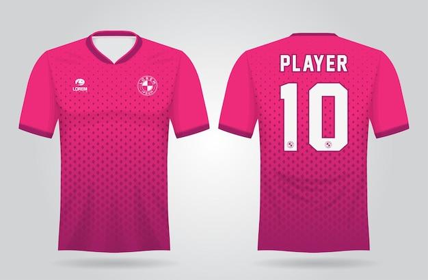 Roze sportshirt sjabloon voor teamuniformen en voetbal t-shirtontwerp