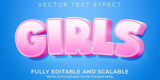 Roze teksteffect voor meisjes, bewerkbare lichte en zachte tekststijl Premium Vector