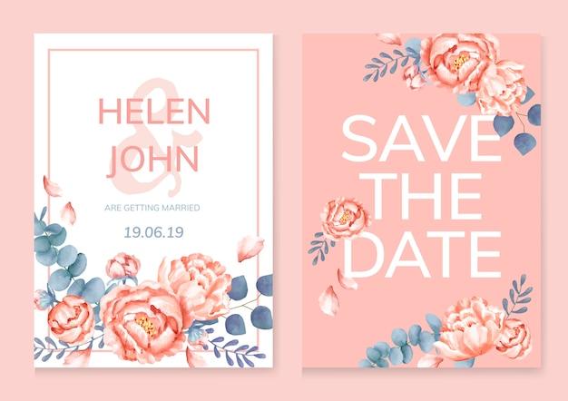 Roze thema bloemen bruiloft kaart