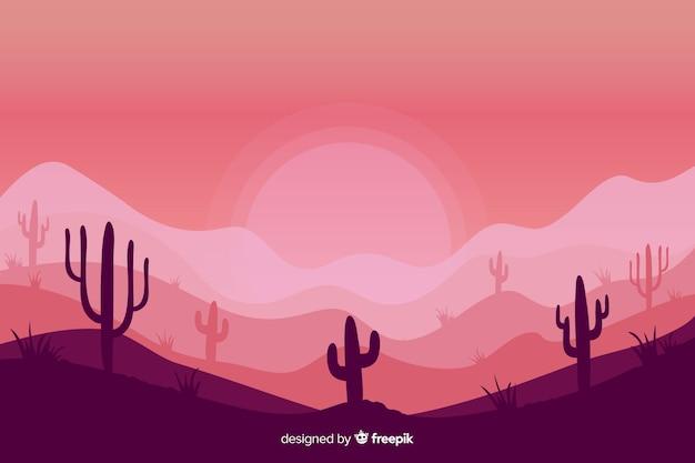 Roze tinten achtergrond met silhouetten van cactussen