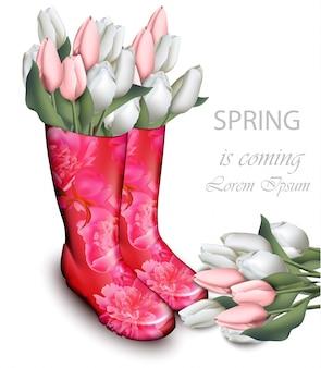 Roze tulp bloemen laarzen