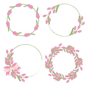 Roze tulpen krans frame voor de lente of moederdag collectie