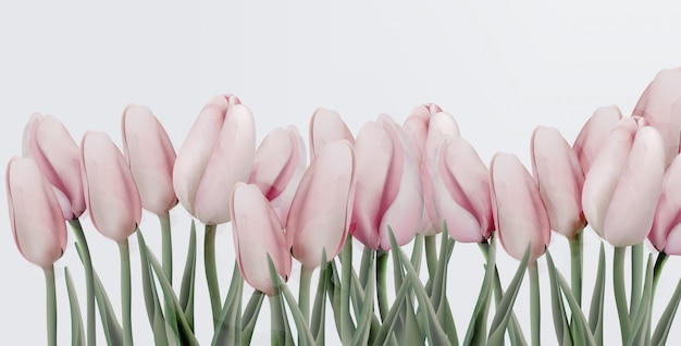 Roze tulpen verjaardagsuitnodigingskaart