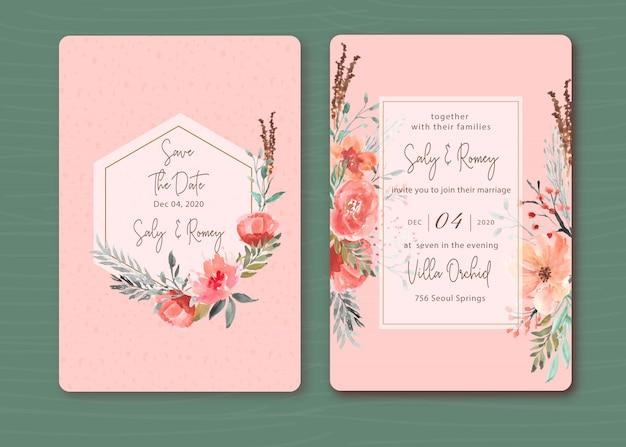 Roze uitnodiging met prachtige bloemen aquarel