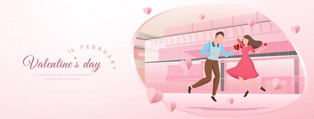 Roze valentijnsdag banner achtergrond met cartoon paar