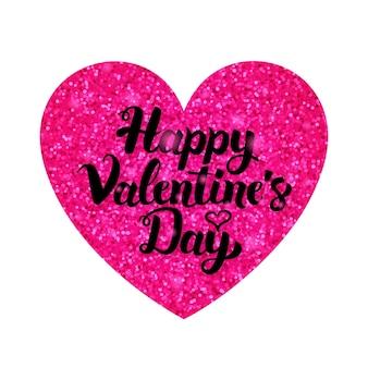 Roze valentijnsdag groet. vectorillustratie van liefde briefkaart met kalligrafie.
