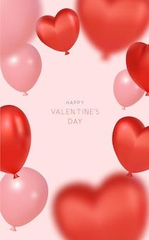 Roze valentijnskaartachtergrond met realistische hartvormige ballons