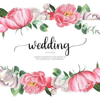 Roze van de het waterverfhuwelijk van de pioen bloeiende bloem botanische kaarten van de het huwelijksuitnodiging bloemenaquarelle