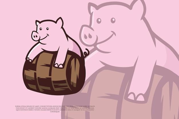 Roze varken logo of illustratie