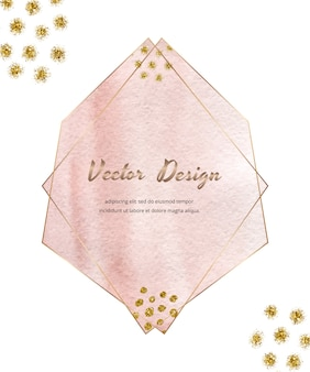 Roze veelhoekige lijnen geometrische frames met penseelstreek aquarel en gouden glitter textuur, confetti.