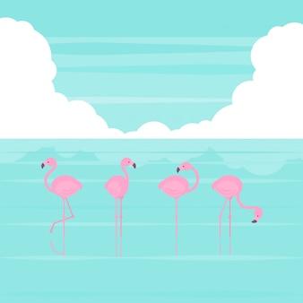 Roze vereenvoudigde flamingo's staan in verschillende poses op het strand in platte cartoon stijl