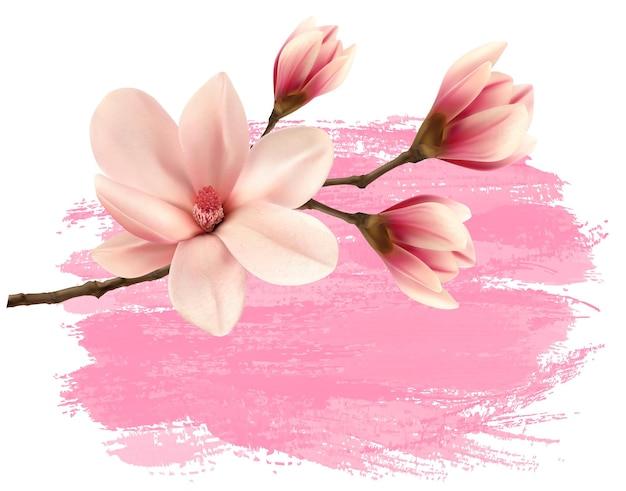 Roze verf magnolia tak banner.