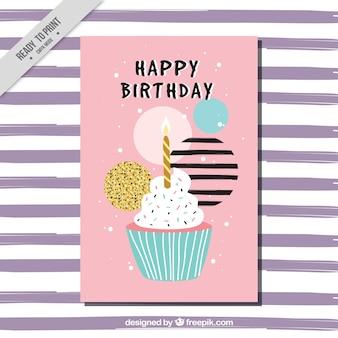 Roze verjaardag wenskaart met cupcake