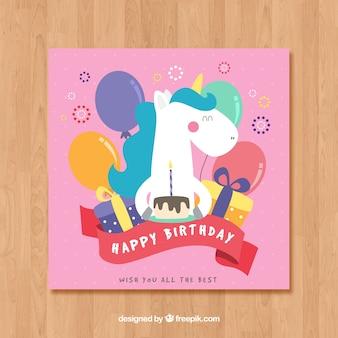 Roze verjaardagskaart sjabloon met een eenhoorn