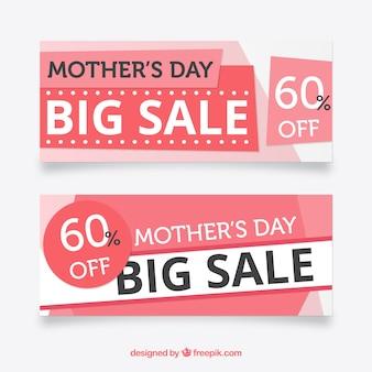 Roze verkoop banners voor moederdag