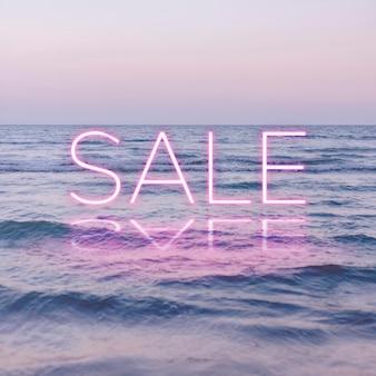 Roze verkoop neon woord vector typografie