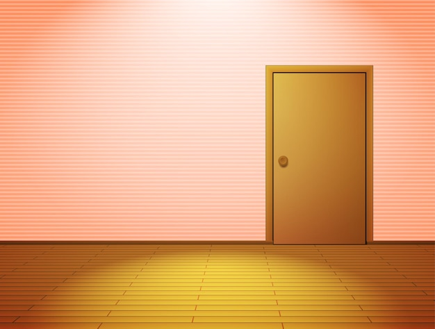 Roze verlichte kamer met deur