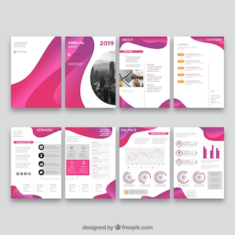 Roze verzameling sjablonen voor de dekking van het jaarverslag