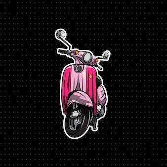 Roze vespa motorfiets hand tekenen