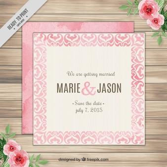 Roze vintage huwelijksuitnodiging met waterverf ornamenten