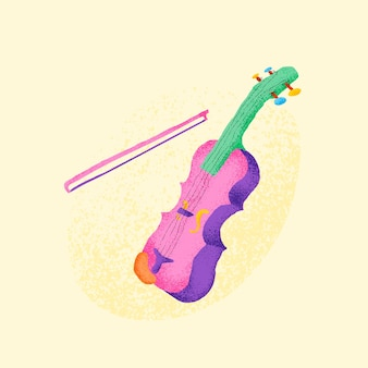 Roze viool sticker muziekinstrument illustratie