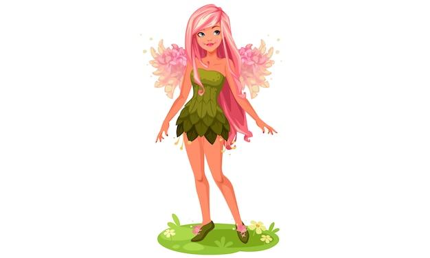 Roze vleugels fairy staande fantasie vectorillustratie